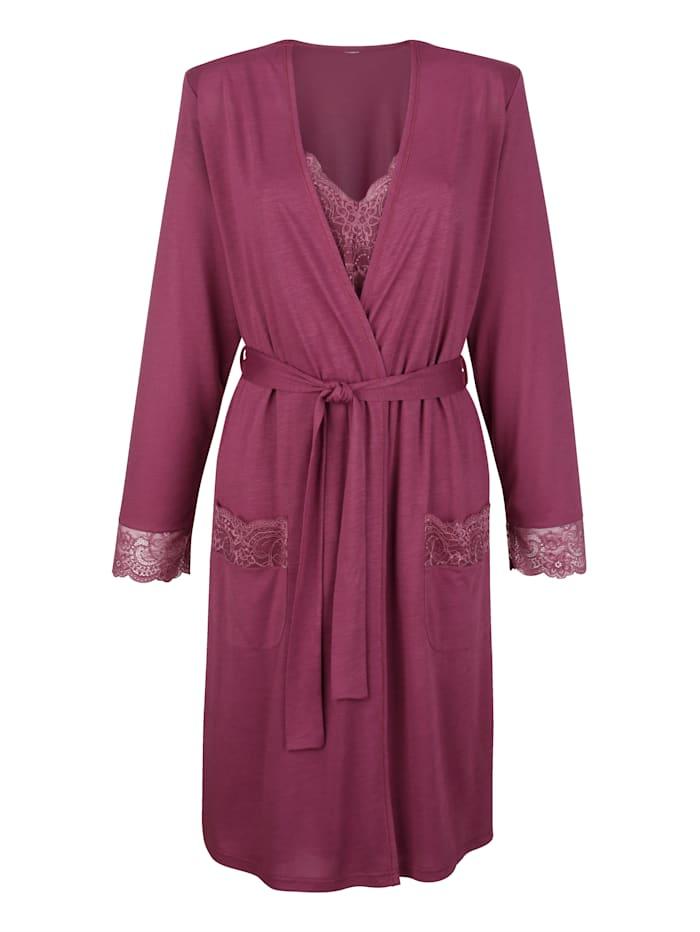 Blue Moon Ensemble robe de chambre + nuisette à dentelle, Bois de rose