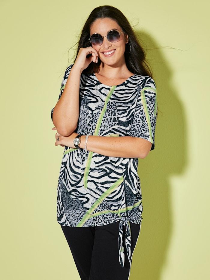 MIAMODA T-shirt avec nœud fantaisie à la base, Noir/Vert/Blanc