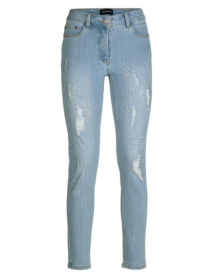 Jeans mit Strasssteindekoration und Destroyed-Effekten