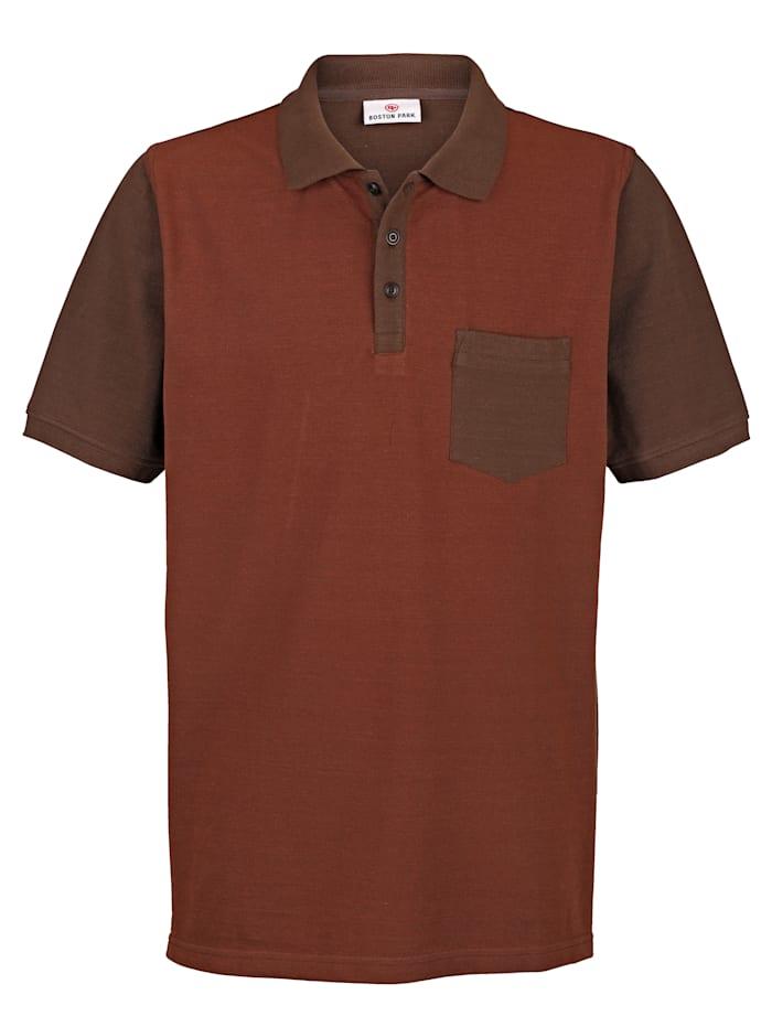 Boston Park Poloshirt in Piqué-Qualität, Braun/Terracotta