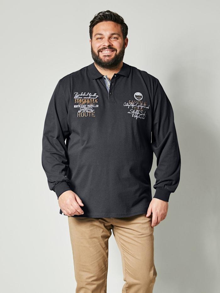 Men Plus Poloshirt aus reiner Baumwolle, Nachtblau/Beige/Weiß