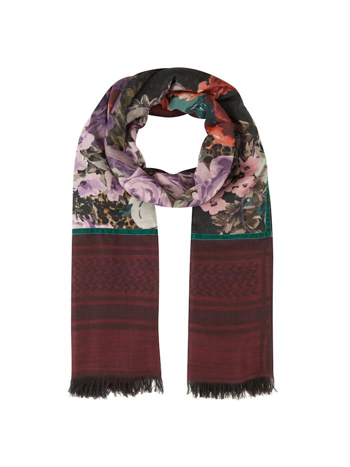 Codello Premium XL-Schal aus Wolle und Modal, bordeaux