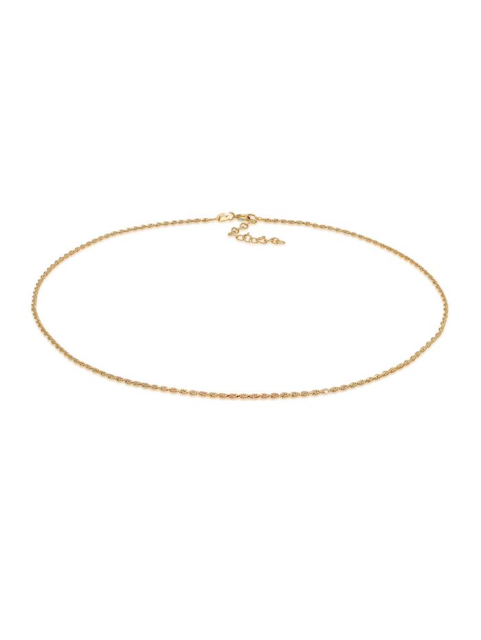 Elli Halskette Choker Gedreht Kordel Twist 925 Silber, Gold