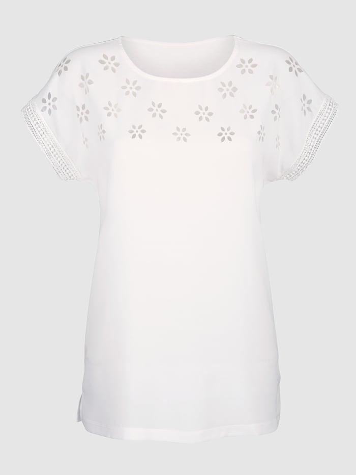 T-shirt Matière dévorée à motif floral