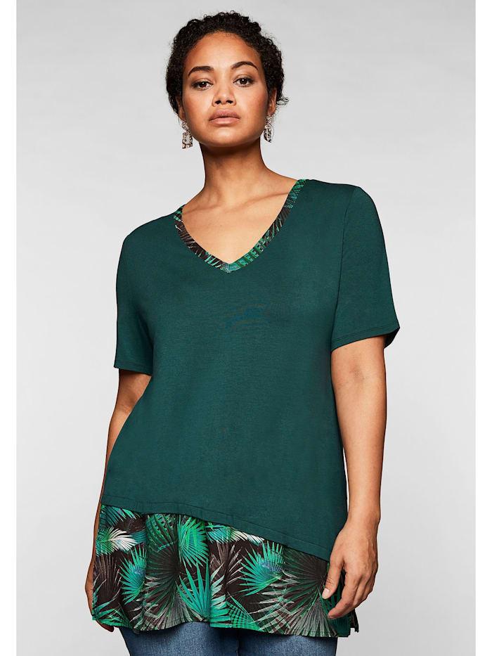 Sheego Shirt im Lagenlook, mit V-Ausschnitt, tiefgrün