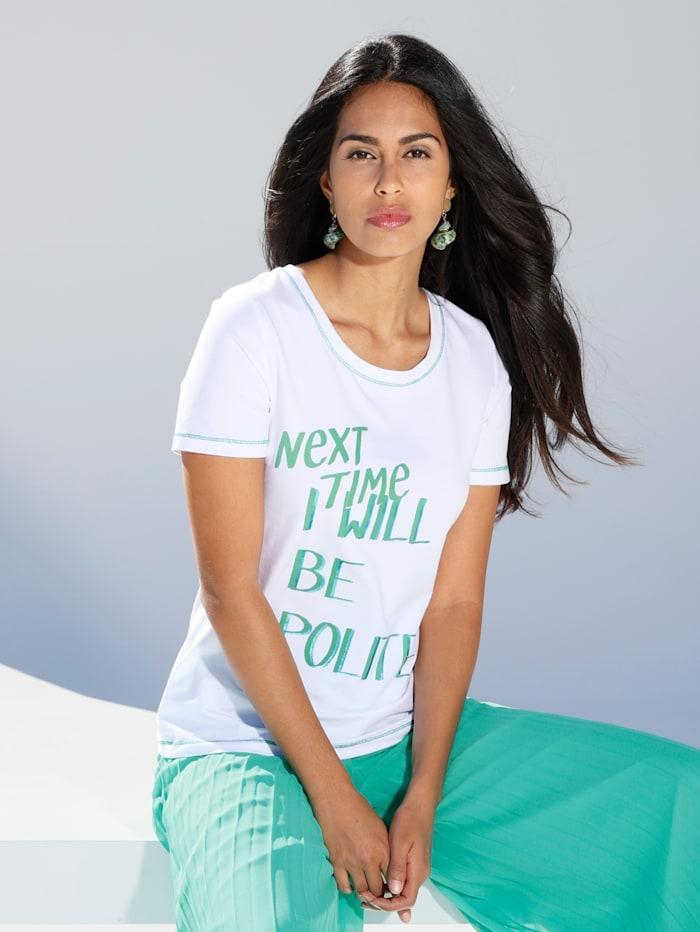 AMY VERMONT Shirt mit Schriftzug, Weiß