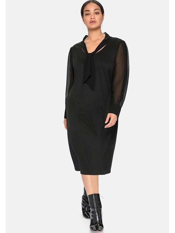Sheego Jerseykleid mit Schluppe und Chiffonärmeln, schwarz