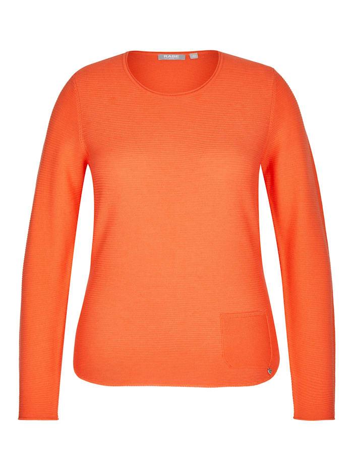 Rabe Pullover mit unifarbenem Stoff und Ziertasche, PFIRSICH