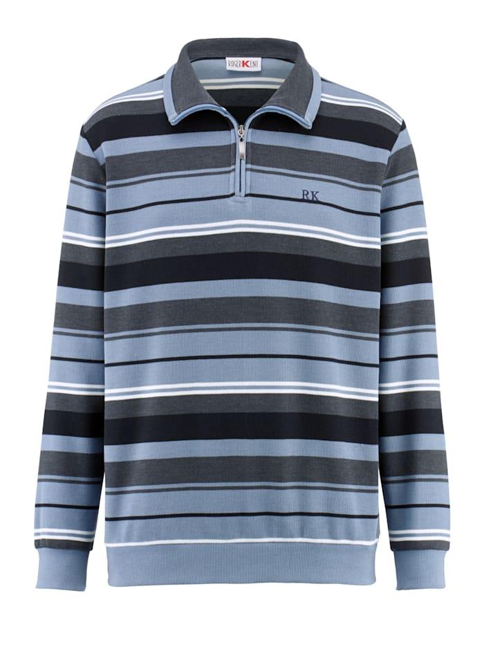 Roger Kent Sweatshirt med garnfarget stripemønster, Blå/Marine/Ecru