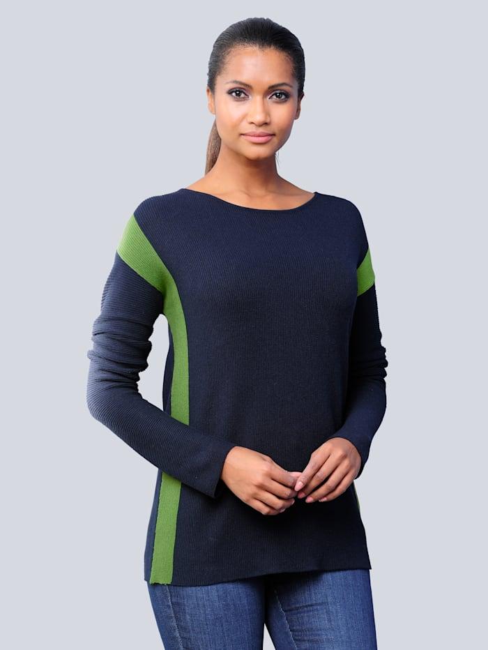 Alba Moda Pullover mit kontrastfarbigen Blockstreifen, Marineblau/Grün