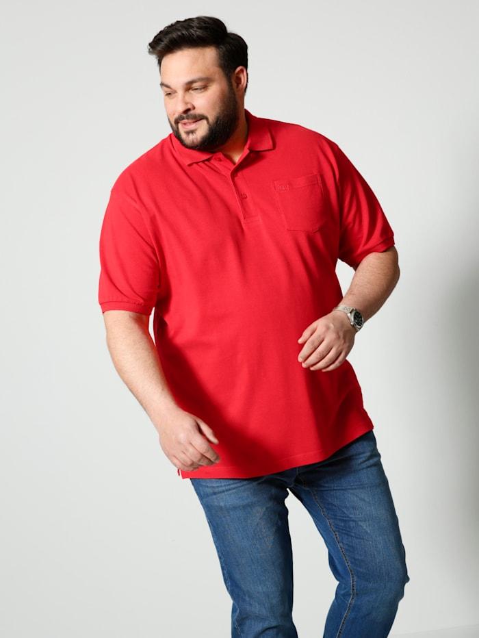 Men Plus Poloshirt aus reiner Baumwolle, Rot