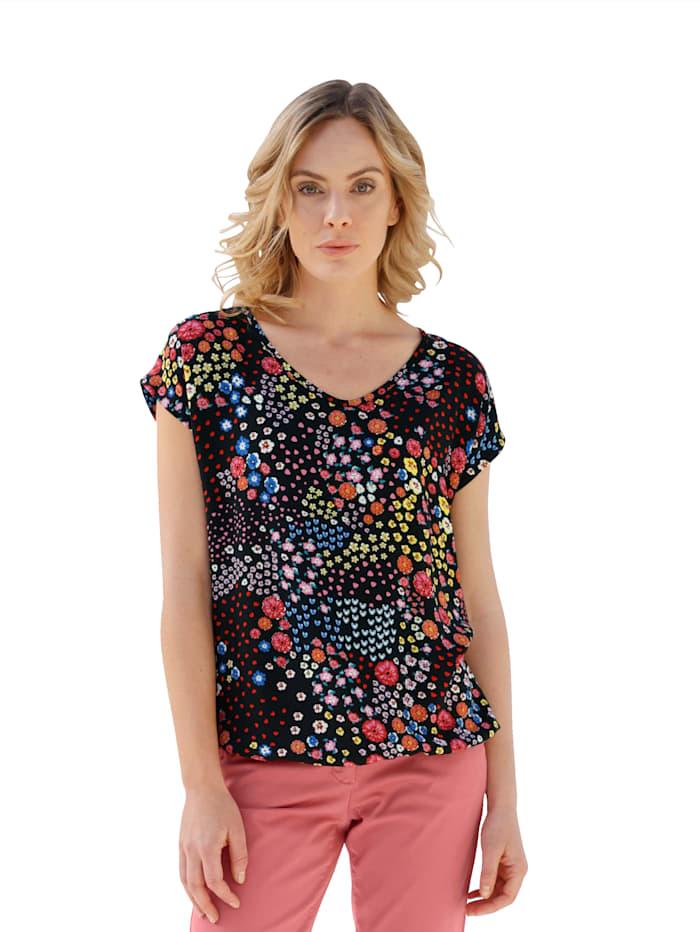 AMY VERMONT Shirt met bloemenpatroon rondom, Rood/Blauw/Geel