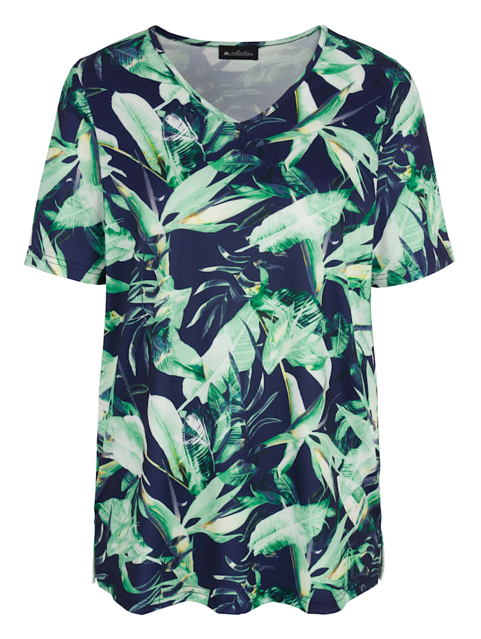 m. collection Shirt mit Blätterdesign, Marineblau/Grün