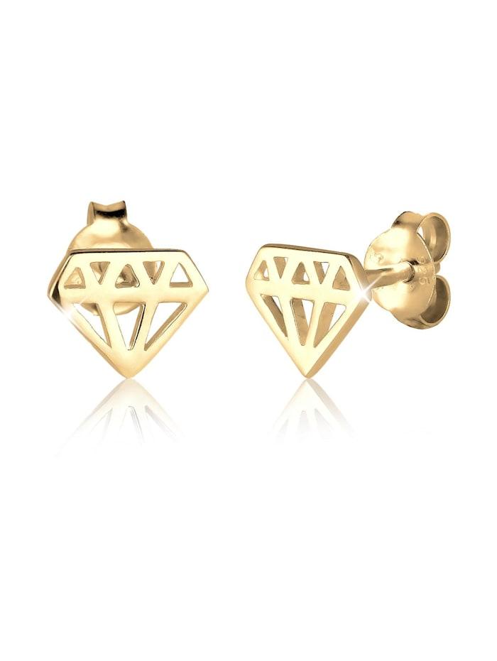 Elli Ohrringe Diamant-Form Cut-Out Trend Filigran 925 Silber, Gold