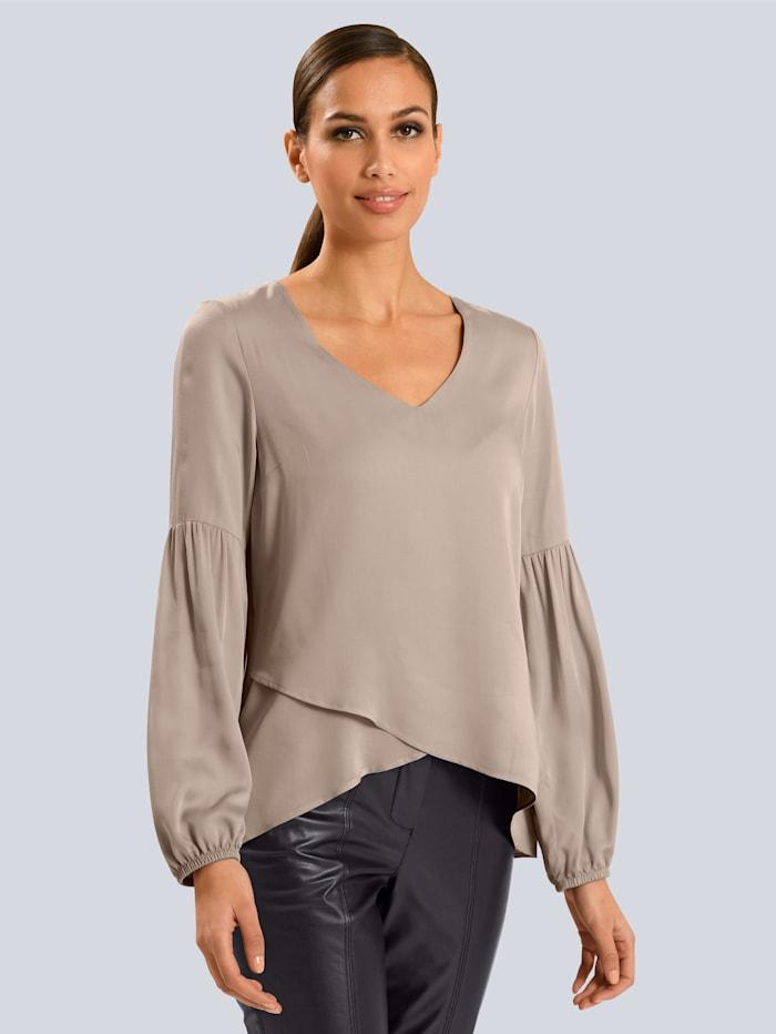 Alba Moda Bluse mit ausgestellten Ärmeln, Grau