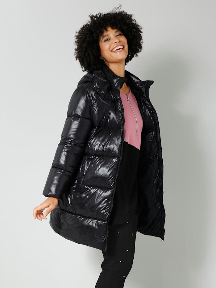 Angel of Style Gewatteerde jas met glans, Zwart