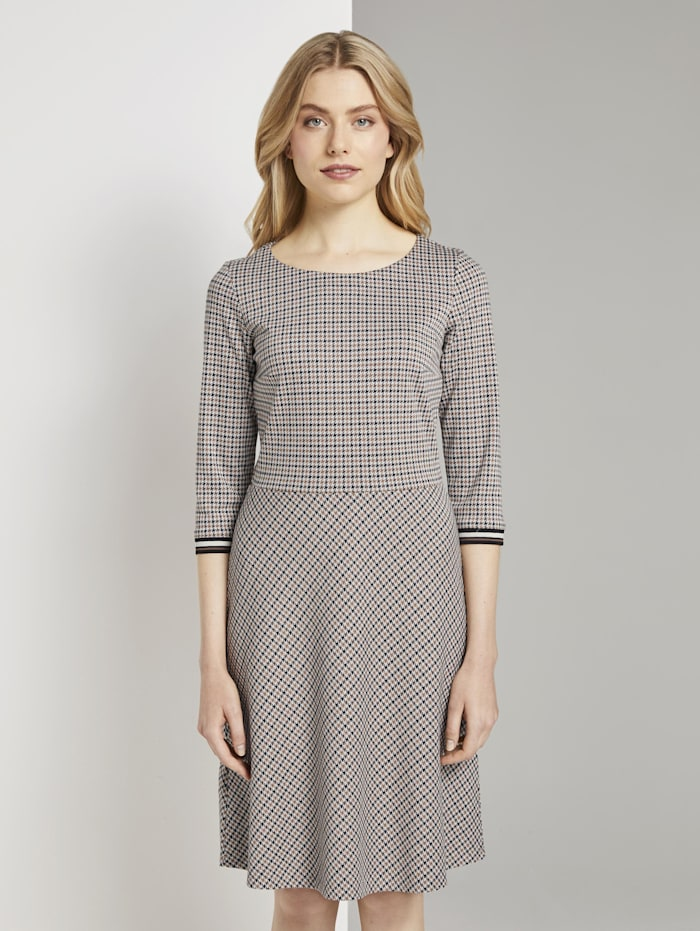 Tom Tailor Kariertes Jersey-Kleid in A-Linie, camel small check