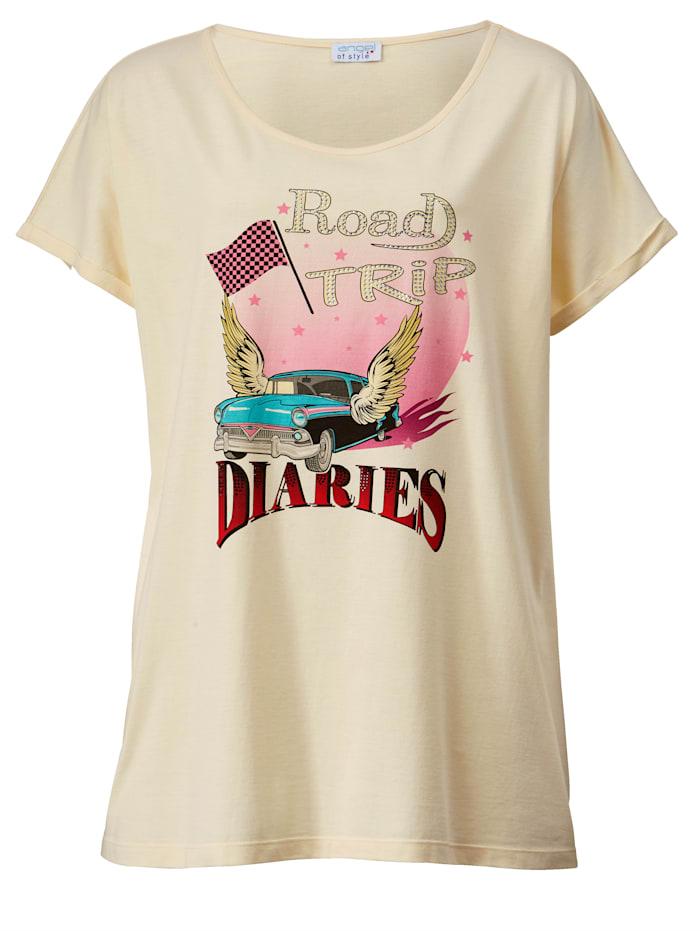 T-shirt à imprimé orné de pierres fantaisie