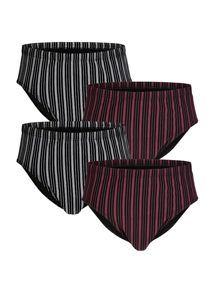 Slips zonder gulp 4 stuks, 2x grijs/zwart, 2x bordeaux/zwart