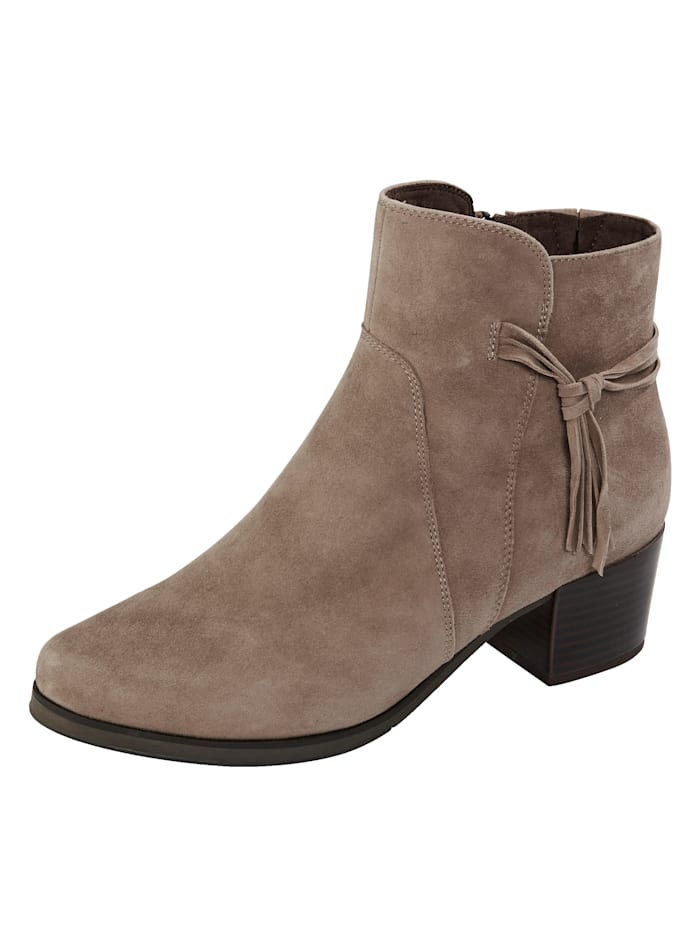 MONA Ankle boots with fringe detail, Taupe