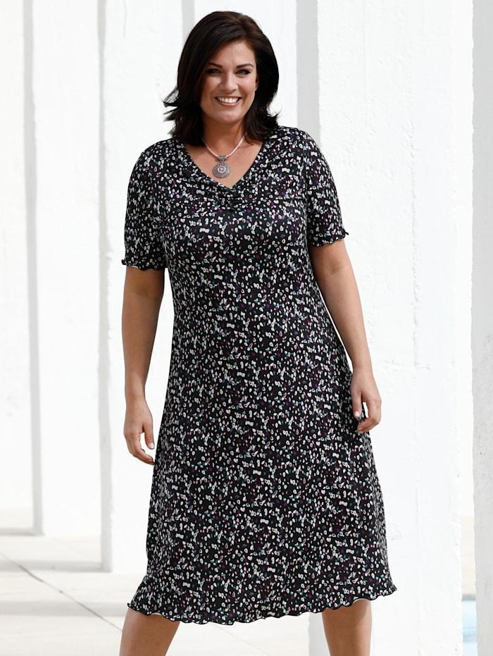 m. collection Jersey jurk met minimaldessin, Zwart/Paars/Petrol