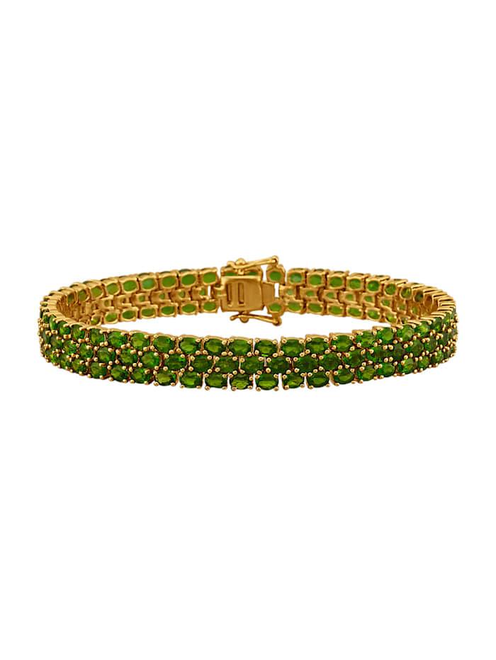 Amara Pierres colorées Bracelet en argent 925, doré, Vert