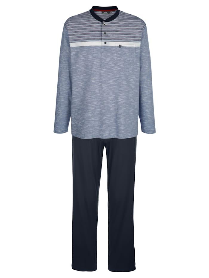 Hajo Schlafanzug in Klima-Komfort-Qualität, Marineblau