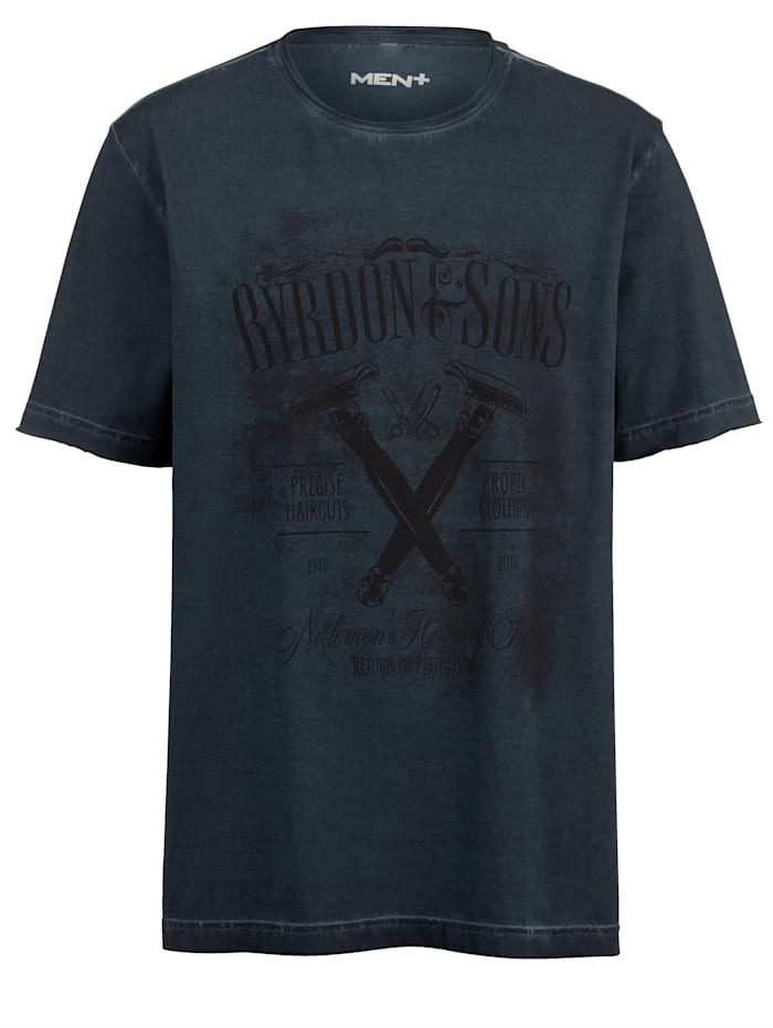 Men Plus T-shirt in oil washed look, Blauw