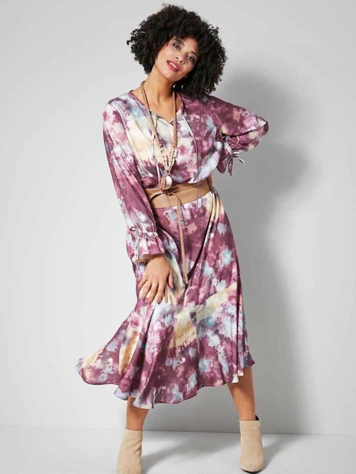 Angel of Style Web-Kleid mit Volants, Mauve/Blau/Rosé