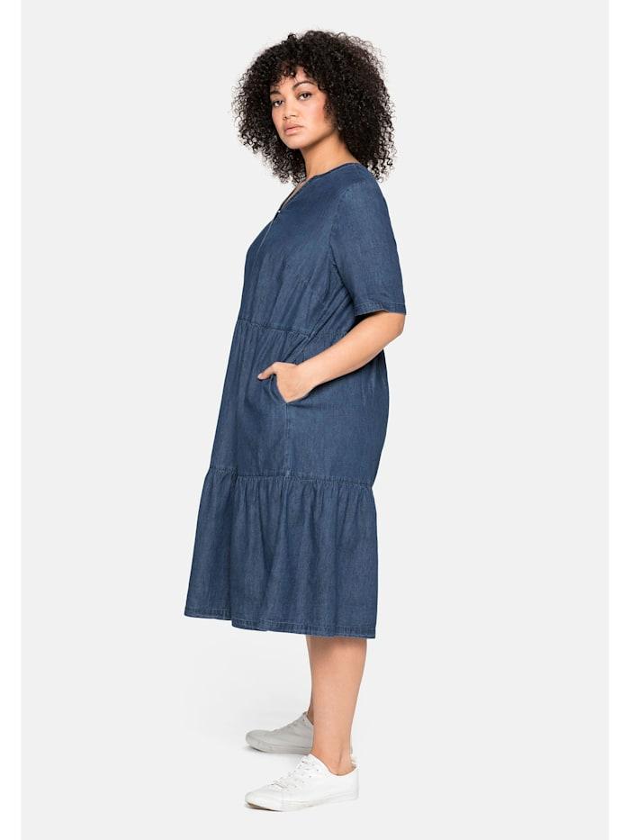 Sheego Jeanskleid aus leichtem Denim, in Volant-Optik