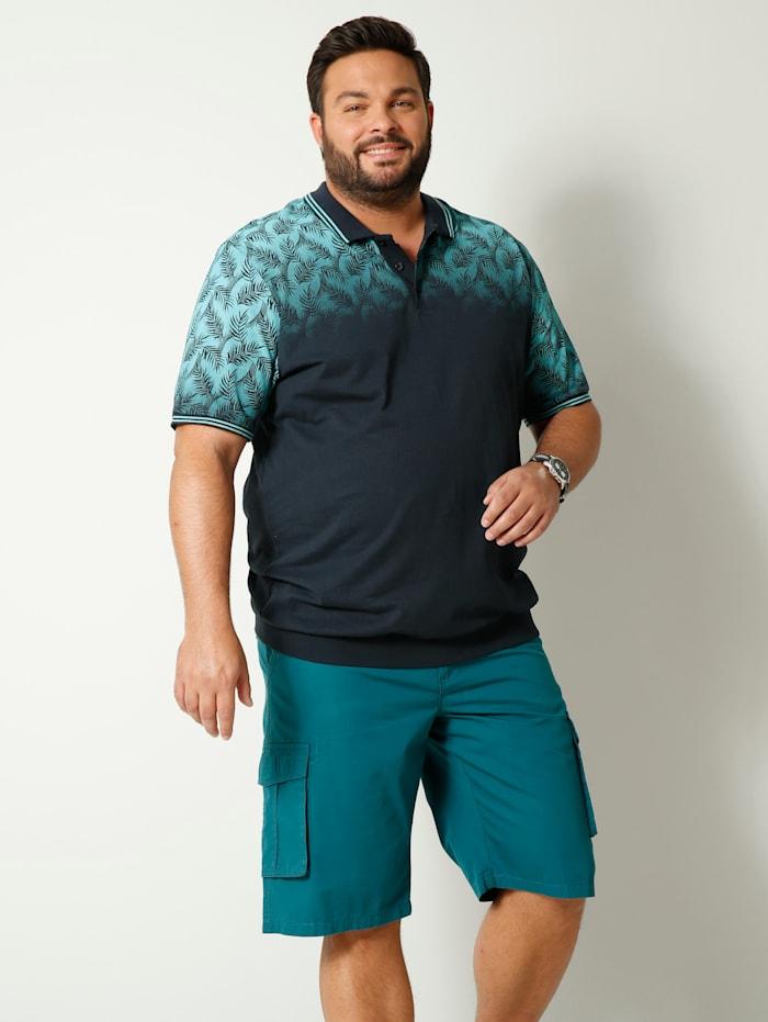 Men Plus Poloshirt Spezialschnitt, Marineblau/Hellblau