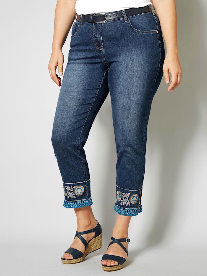 Sara Lindholm Jeans mit Blumenstickerei, Dark blue