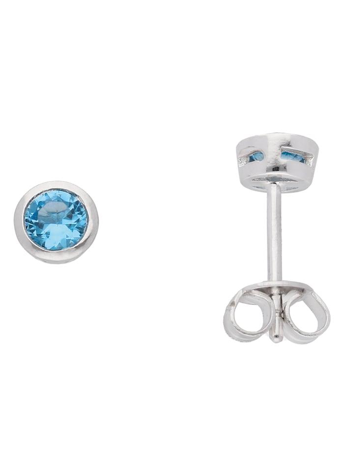 1001 Diamonds Damen Silberschmuck 925 Silber Ohrringe / Ohrstecker mit Zirkonia Ø 5 mm, bunt