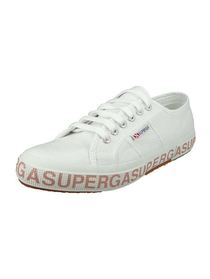 Superga Damenschuhe-Sneaker S111XQW 2750 COTW Glitterlettering Textil weiß A01 white bronze, A01 white bronze