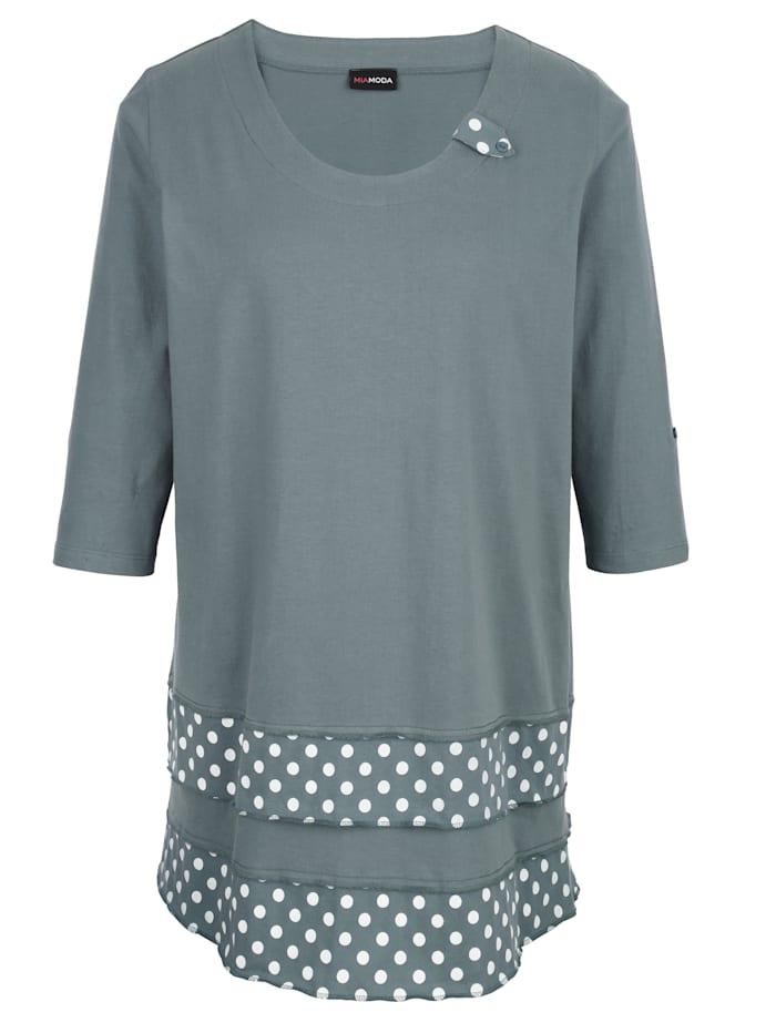 Shirttunika mit modischen Einsätzen am Saum