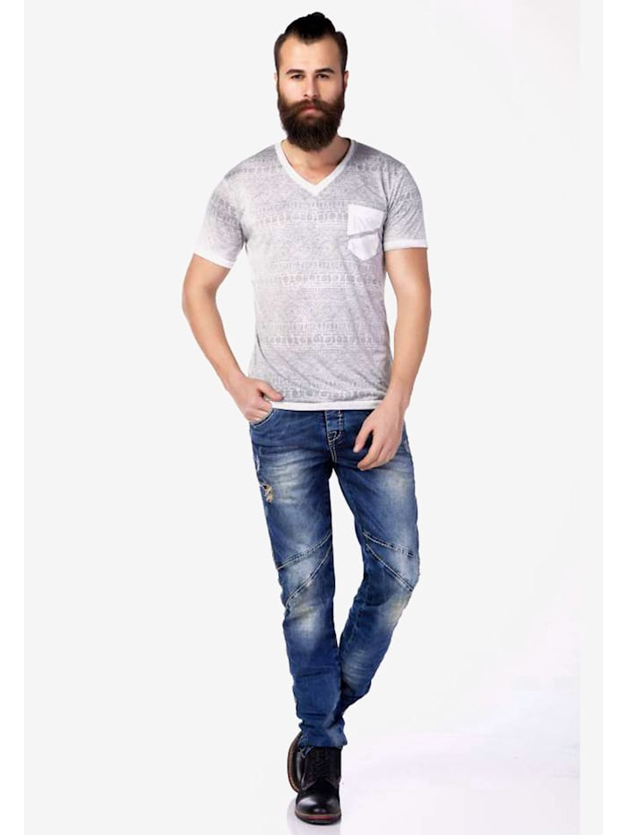 V-Shirt mit dezentem Allovermuster