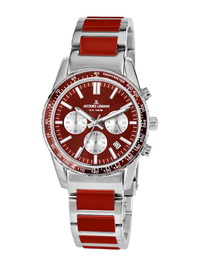 Jacques Lemans Unisex-Uhr Chronograph Serie: Liverpool, Kollektion: Sport 1-2059K, Silberfarben/Rot