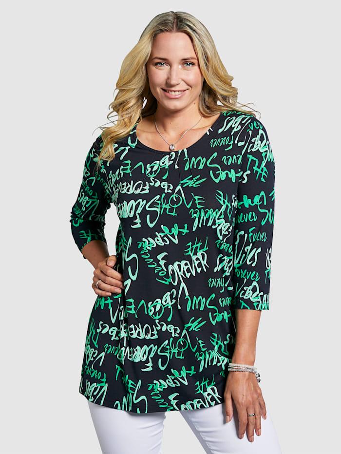 MIAMODA Shirt mit Schriftzügen bedruckt, Marineblau/Grün