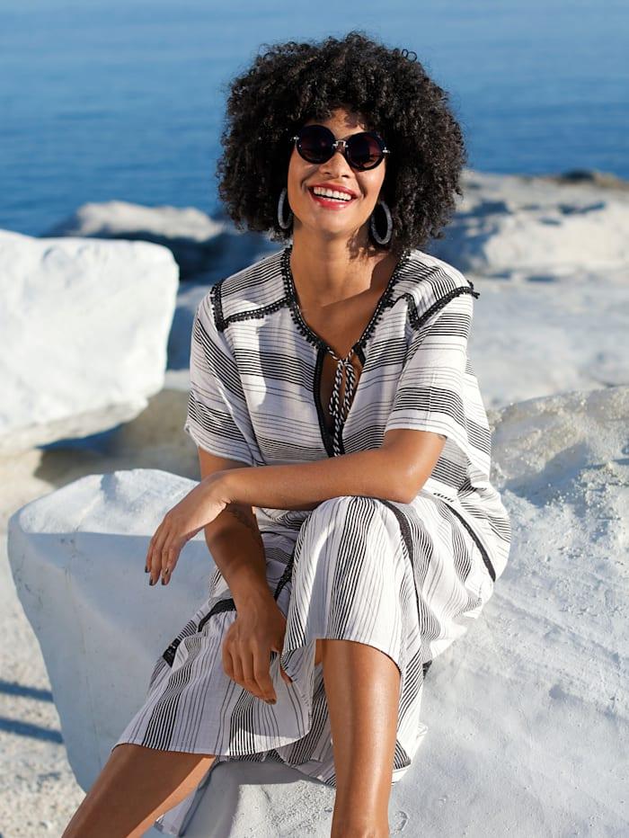 Angel of Style Kleid mit Häkelspitzendetails, Off-white/Schwarz