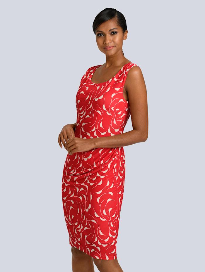 Alba Moda Kleid mit farbharmonischem Druck, Koralle/Creme-Weiß