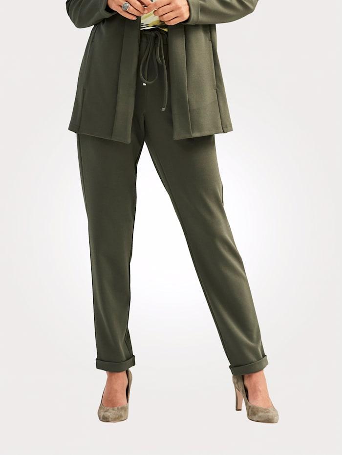 MONA Pantalon à taille extensible pratique, Olive