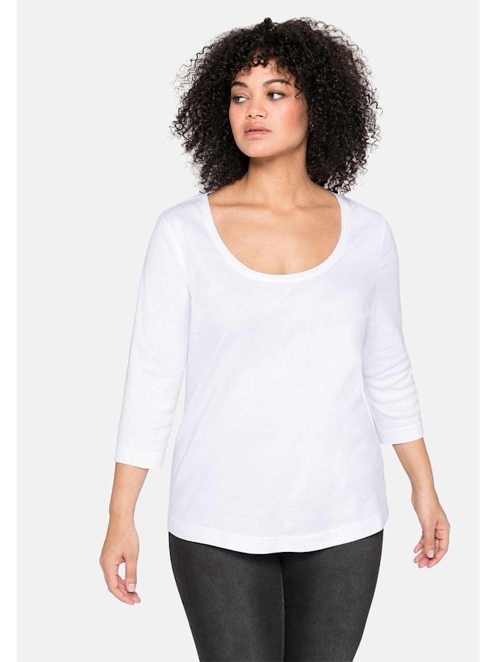 Sheego Shirt aus reiner Baumwolle, weiß