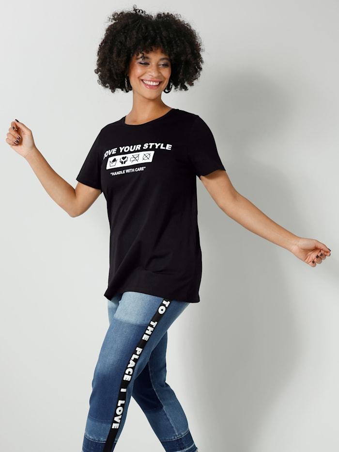Angel of Style Shirt van zuiver katoen, Zwart/Wit