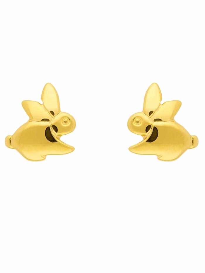 1001 Diamonds 1001 Diamonds Damen Goldschmuck 585 Gold Ohrringe / Ohrstecker Hase, gold