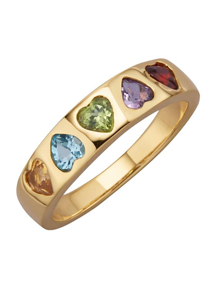 Diemer Highlights Herz-Ring mit Farbsteinen, Multicolor