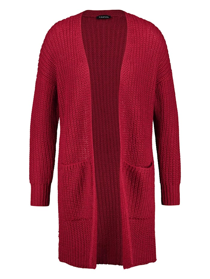 Taifun Lange Strickjacke aus Grobstrick, Cherry Wine