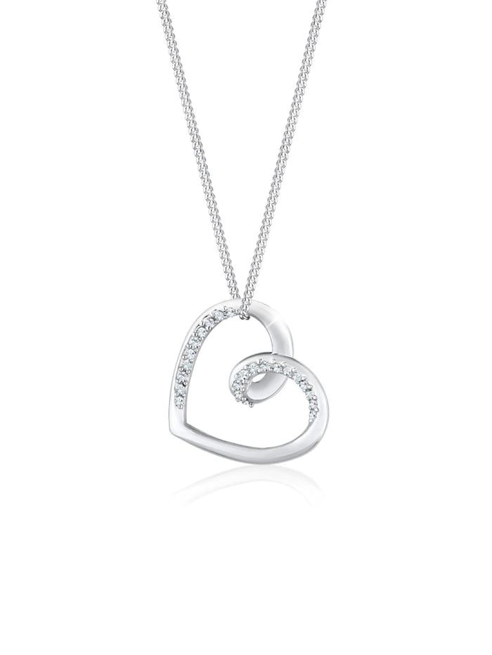 Elli Halskette Herz Anhänger Kristalle 925 Silber, Silber