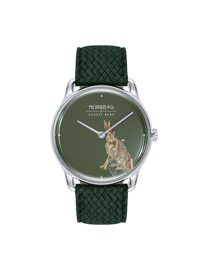 August Berg Uhr MORRIS & CO Silver Green Perlon 38mm, crimson