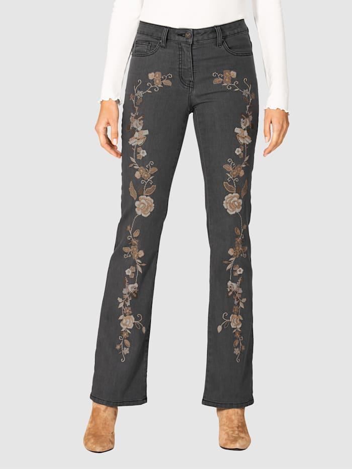 AMY VERMONT Jeans mit Blütenstickerei im Vorderteil, Grey