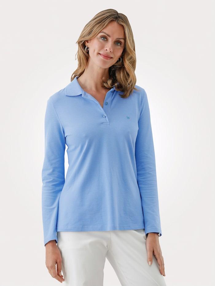 MONA Poloshirt van piquémateriaal, Lichtblauw